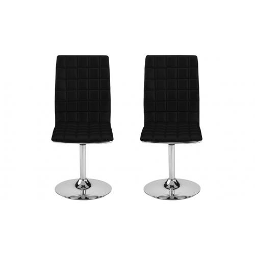 3S. x Home - Lot de 2 chaises pivotantes MERIDA Noir - Chaise