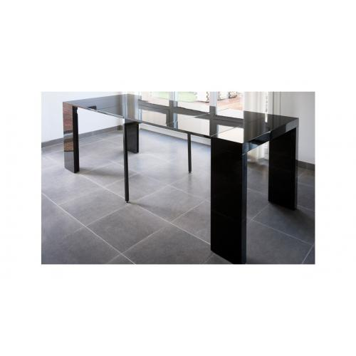 3S. x Home - Console extensible 250cm Noir Laque MAXIMB - Table extensible