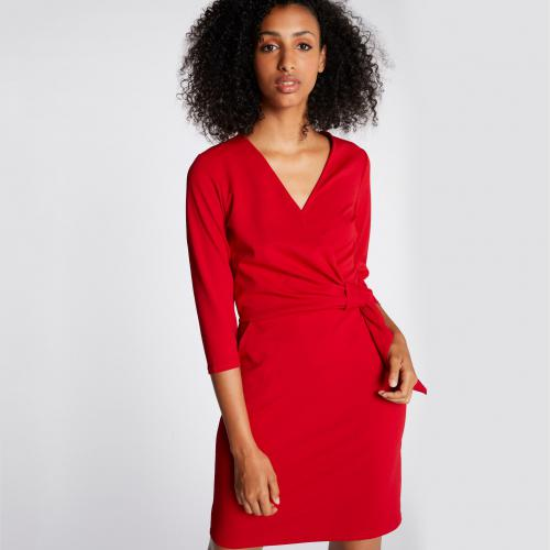 8337a2891a0d Morgan - Robe façon portefeuille 2 poches - Rouge - Robes de soirée
