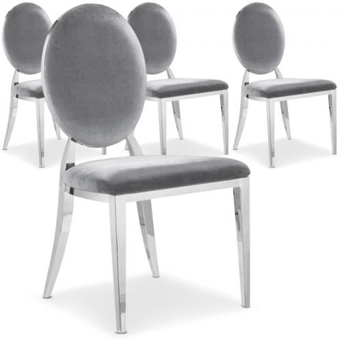 3S. x Home - Lot de 4 chaises Sofia velours Argent - Chaise