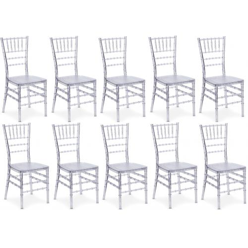 3S. x Home - Lot de 10 chaises Chiavari Transparent Baroque - Meuble & Déco