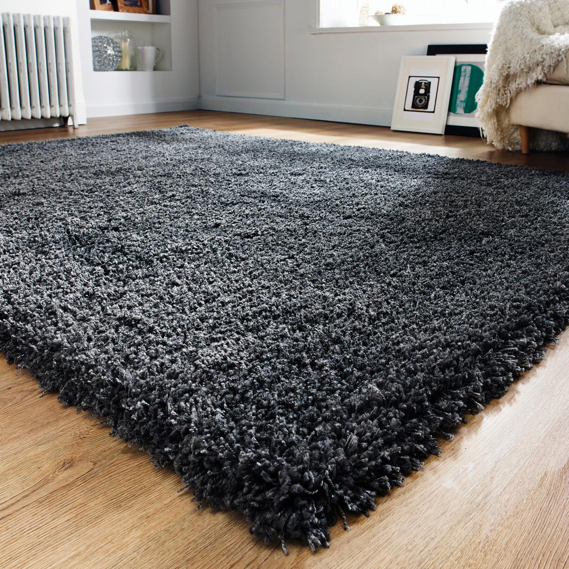 Tapis à Poils Longs Noir 170x120cm IZANE Z0hkF