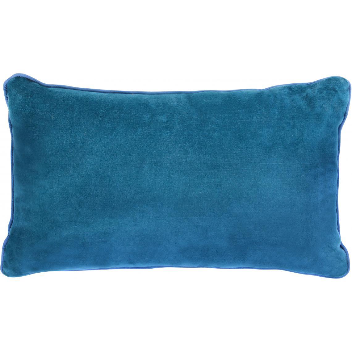 Coussin Rectangulaire en Velours Bleu Canard