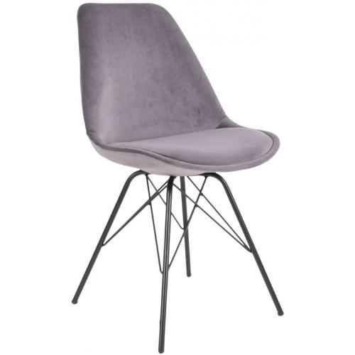 3S. x Home - Chaise Design Velours Gris Foncé KIRSTEN - Chaise