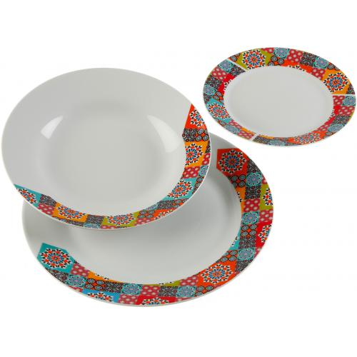 3S. x Home - Service de 18 Assiettes Mutlicolore GIARDINO - Promo Arts de la table