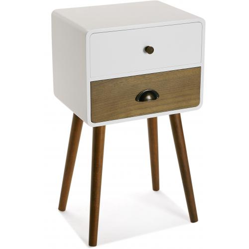 3S. x Home - Table de Chevet 2 Tiroirs Blanc et Marron CAMY - Table de chevet