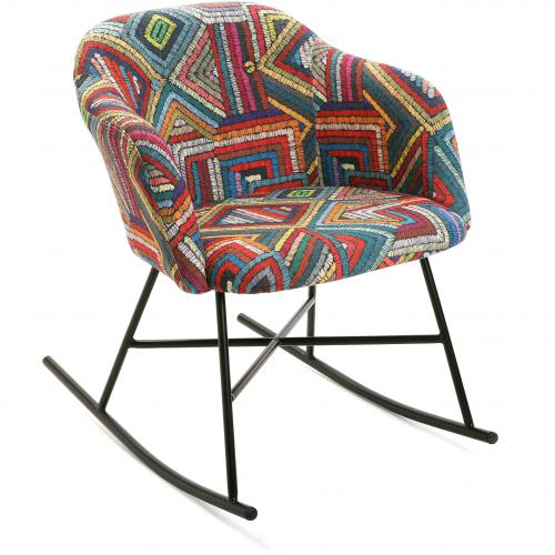 3S. x Home - Fauteuil à Bascule Multicolore ABENAKI - Collection ethnique meuble deco