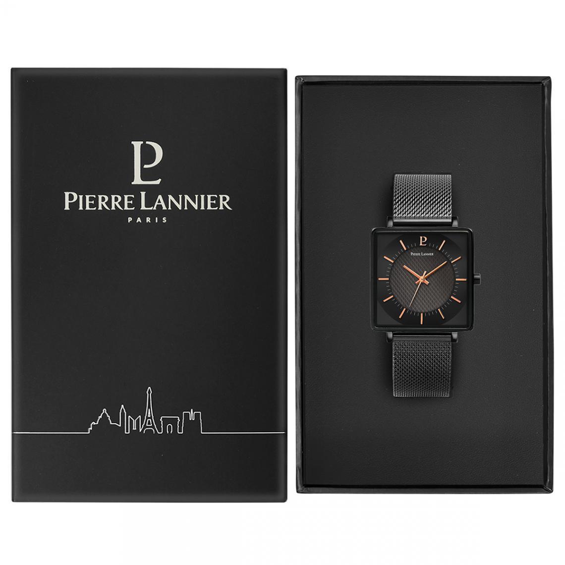 Montre homme Pierre Lannier acier noir boitier carré bracelet milanais