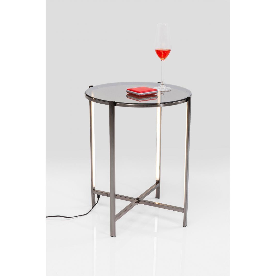 Table d'appoint LED Plateau Verre Argenté FYRE ai7ok