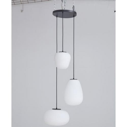 KARE DESIGN - Suspension 3 Lumières Spirales Verre Blanc DAVID - Luminaire