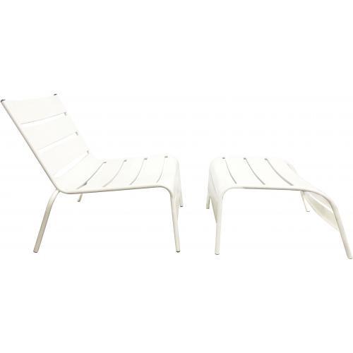 Blanc Chaise Jardin Avec Métal Repose Pieds En De Riviera 8n0vmNw