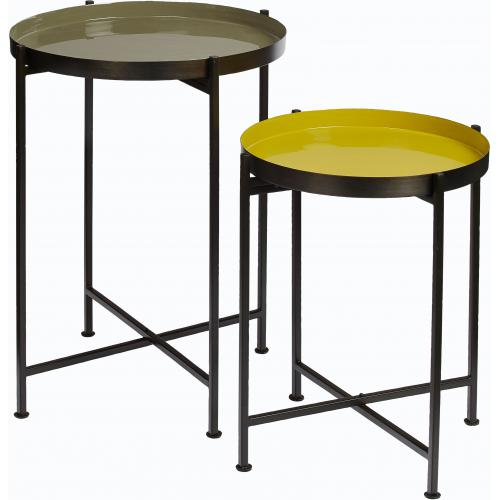 Pomax - Set de 2 Tables d'Appoint en M?tal Mutlicolore FAVORY - Meuble & Déco