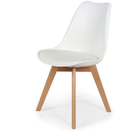 3S. x Home - Chaise Scandinave Coque Blanche avec Assise Rembourrée ORKNEY - Chaise