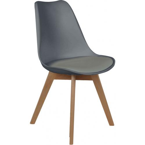 3S. x Home - Chaise Scandinave Coque Grise avec Assise Rembourrée ORKNEY - Chaise