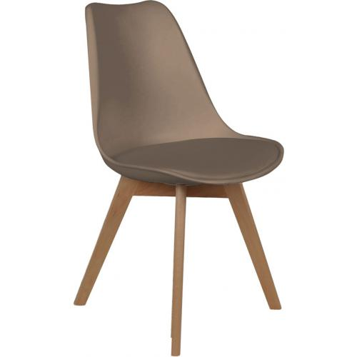 3S. x Home - Chaise Scandinave Coque Taupe avec Assise Rembourrée ORKNEY - Chaise