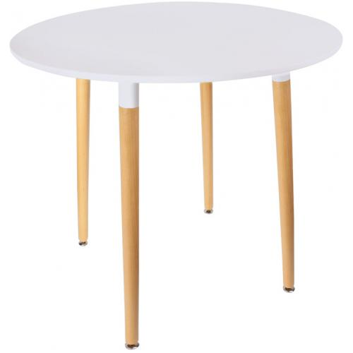 3S. x Home - Table Scandinave Ronde Blanche LIBELLULE - Table salle à manger