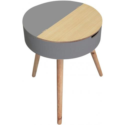 3S. x Home - Table Coffre Ronde Grise et Beige en Bois LAURE - Le salon