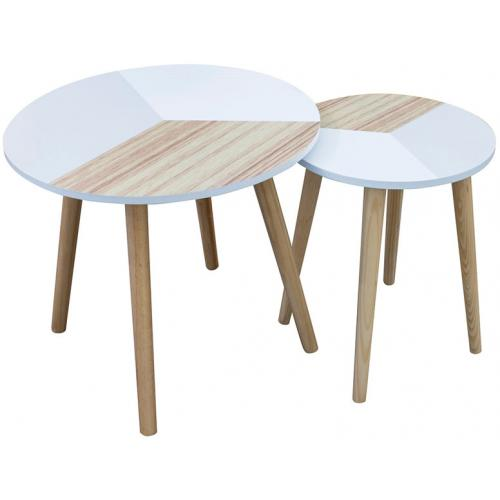 3 SUISSES - Set de 2 Tables Basses Gigognes Tricolore en Bois HEMA - Salon