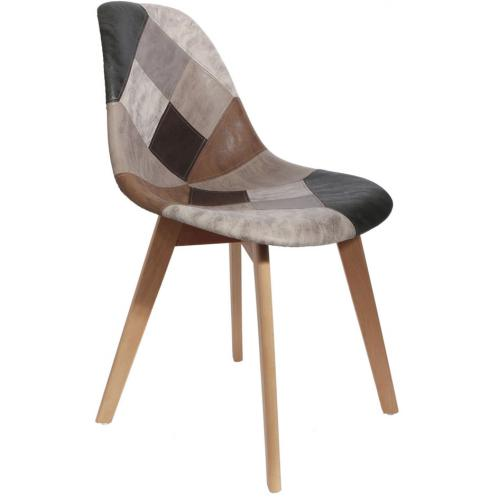 3 SUISSES - Chaise Scandinave Patchwork Marron ORKNEY - Chaise