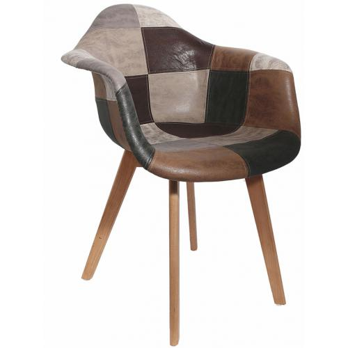 3S. x Home - Chaise Scandinave avec Accoudoir Patchwork Marron ORKNEY - Chaise