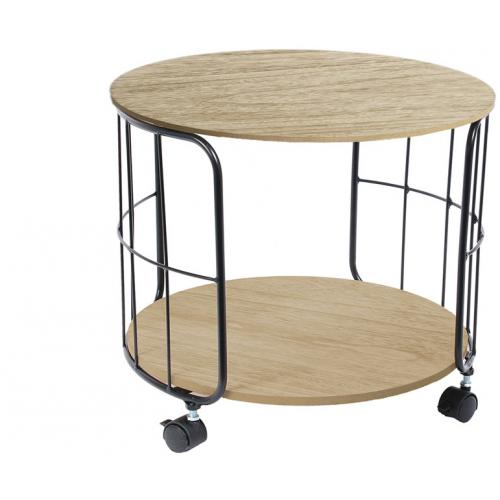 3S. x Home - Table Industrielle Ronde à Roulettes d38cm NOIX - Le salon