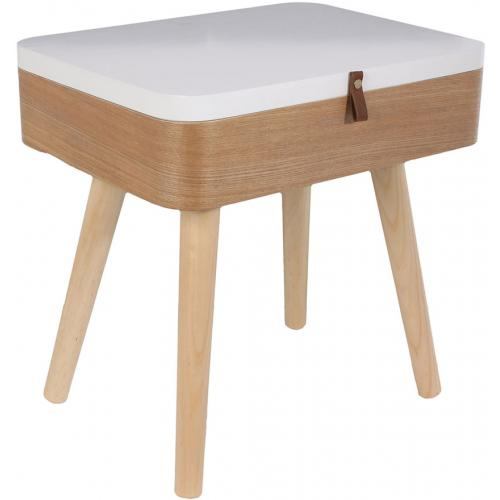 3S. x Home - Table de Chevet Coffre Beige et Blanche SVOLDER - Table de chevet