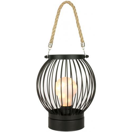Lanterne Filaire en Fer Noir avec Ampoule LED et Corde CHRISTIE