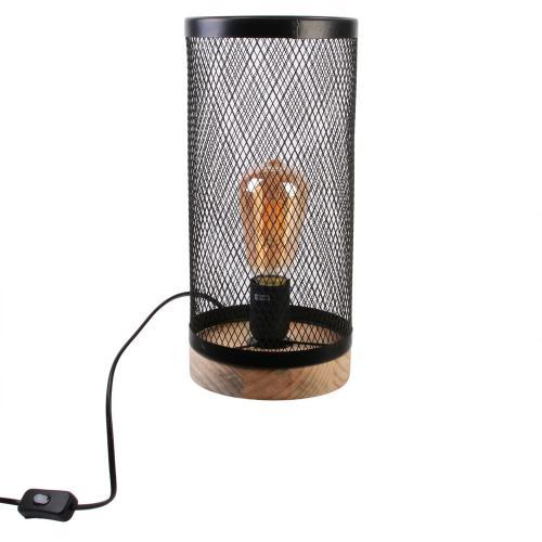 Lampe à Poser Cylindre Grillagé en Métal Noir et Socle en Bois ABEL