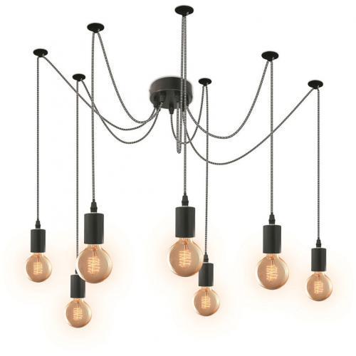 Suspension Araignée 7 Ampoules Câble Noir et Blanc SIA