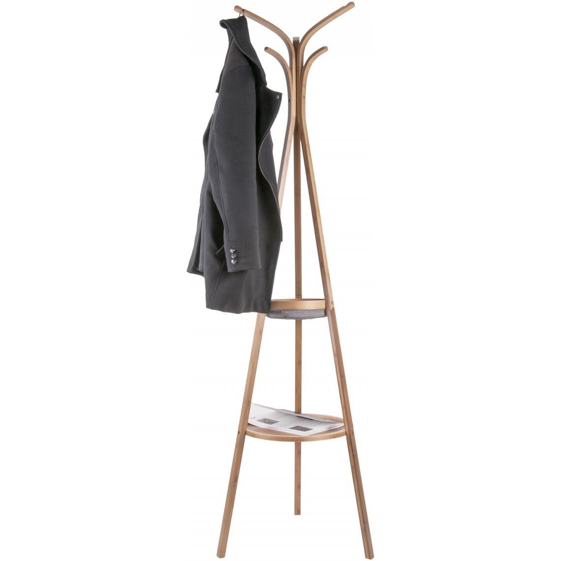 Porte Manteau Style Scandinave porte-manteau scandinave à 1 plateau et 1 panier en bambou beige nati plus  de détails