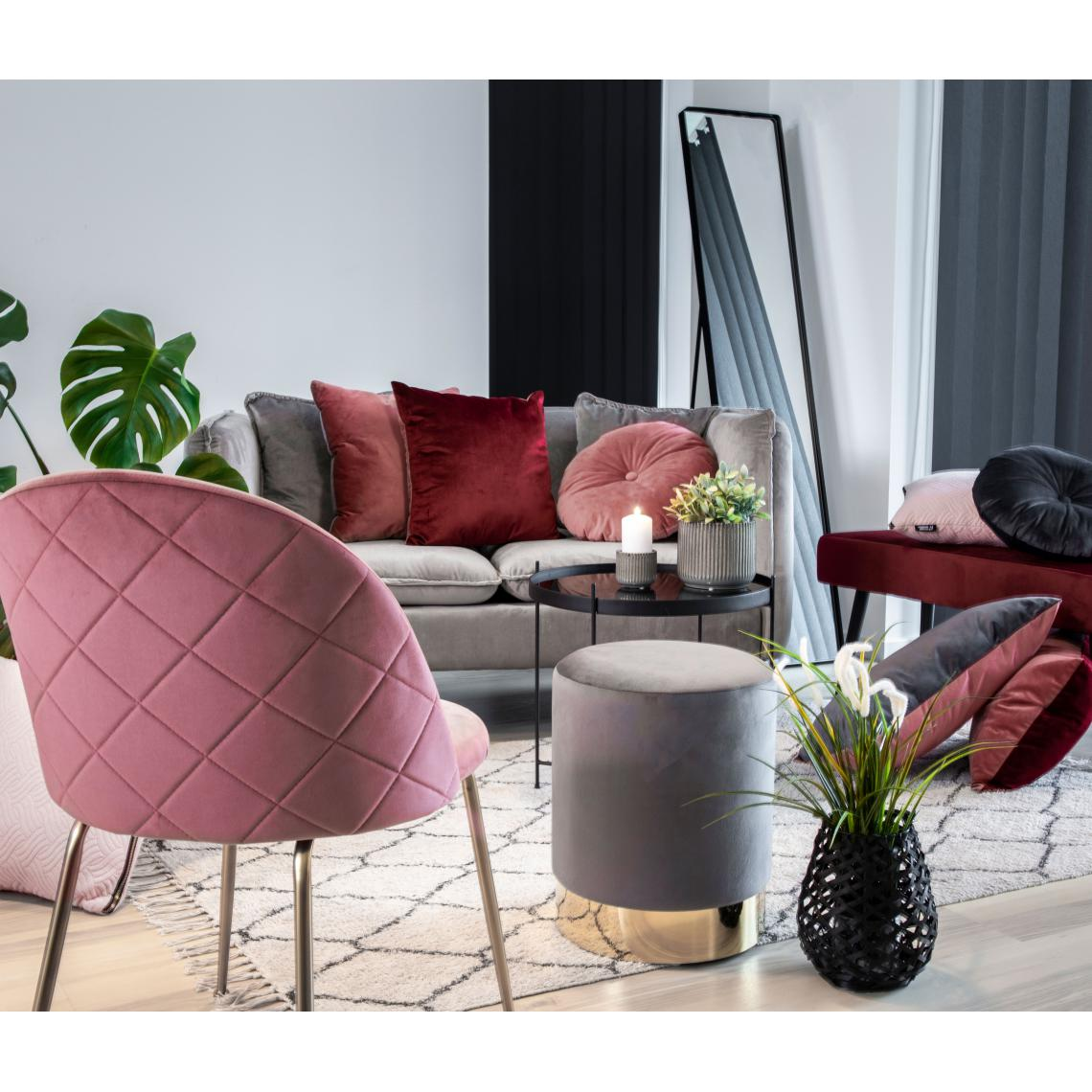 Linge De Maison Bordeaux coussin réversible en velours rose et bordeaux braga plus de détails