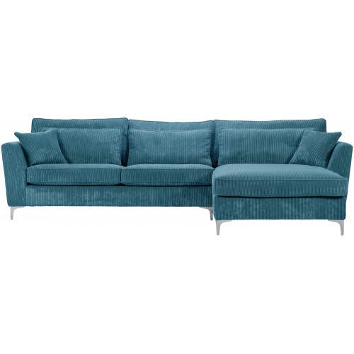 canap d 39 angle droit 5 places en velours c tel bleu isla. Black Bedroom Furniture Sets. Home Design Ideas