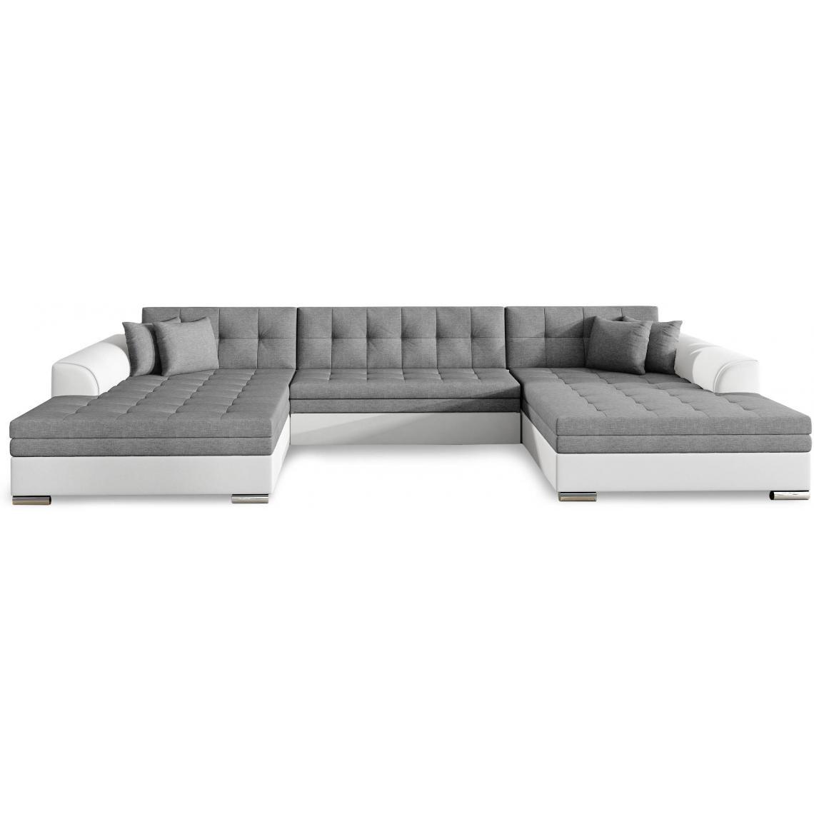 canap d 39 angle u convertible blanc et gris valar 3 suisses. Black Bedroom Furniture Sets. Home Design Ideas