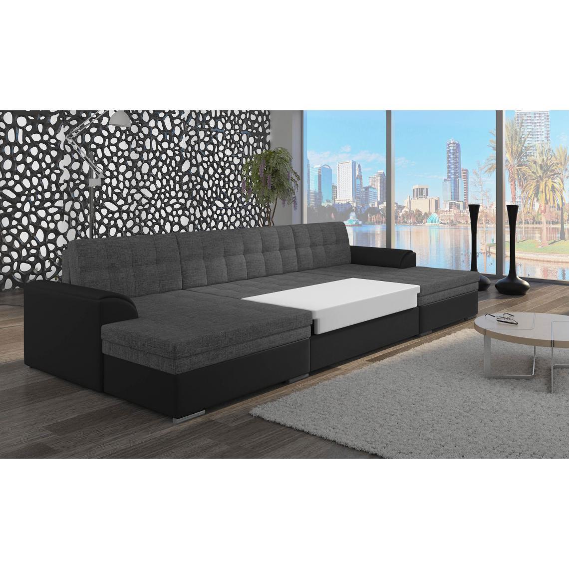 canap d 39 angle u convertible gris et noir valar 3 suisses. Black Bedroom Furniture Sets. Home Design Ideas