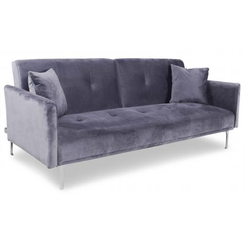 3S. x Home - Canapé Convertible 3 Places en Velours Gris CARLITA - Meuble & Déco