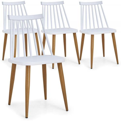 3S. x Home - Lot de 4 Chaises Scandinaves Blanches GATOU - Chaise