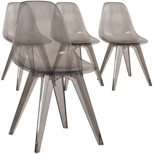 Lot de 4 Chaises Transparentes Fumées PLEXY 3S. x Home