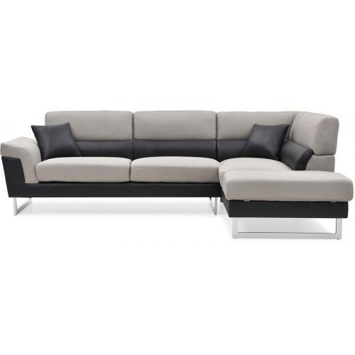 canap d 39 angle droit gris et noir tobias 3 suisses. Black Bedroom Furniture Sets. Home Design Ideas