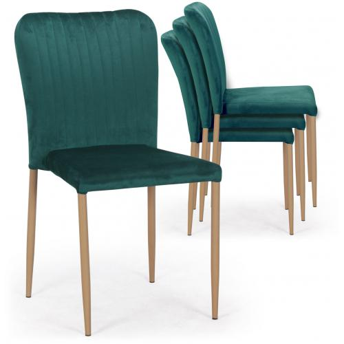 3S. x Home - Lot de 4 Chaises Scandinaves Empilables en Velours Vert ROULY - Chaise