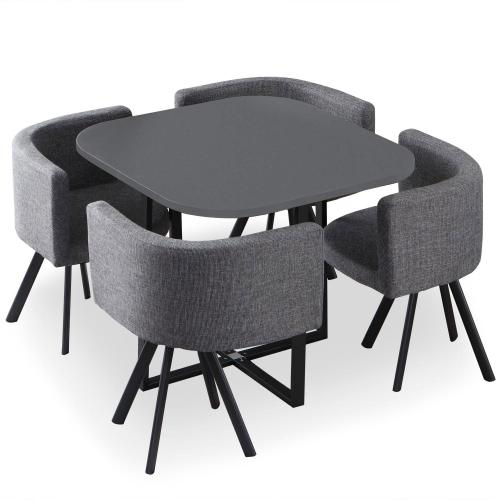 3S. x Home - Table et Chaises en Tissu Gris ORLY - Table