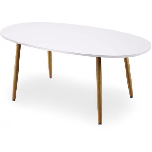 3S. x Home - Table Scandinave Ovale Beige et Blanche NOELLE - Table