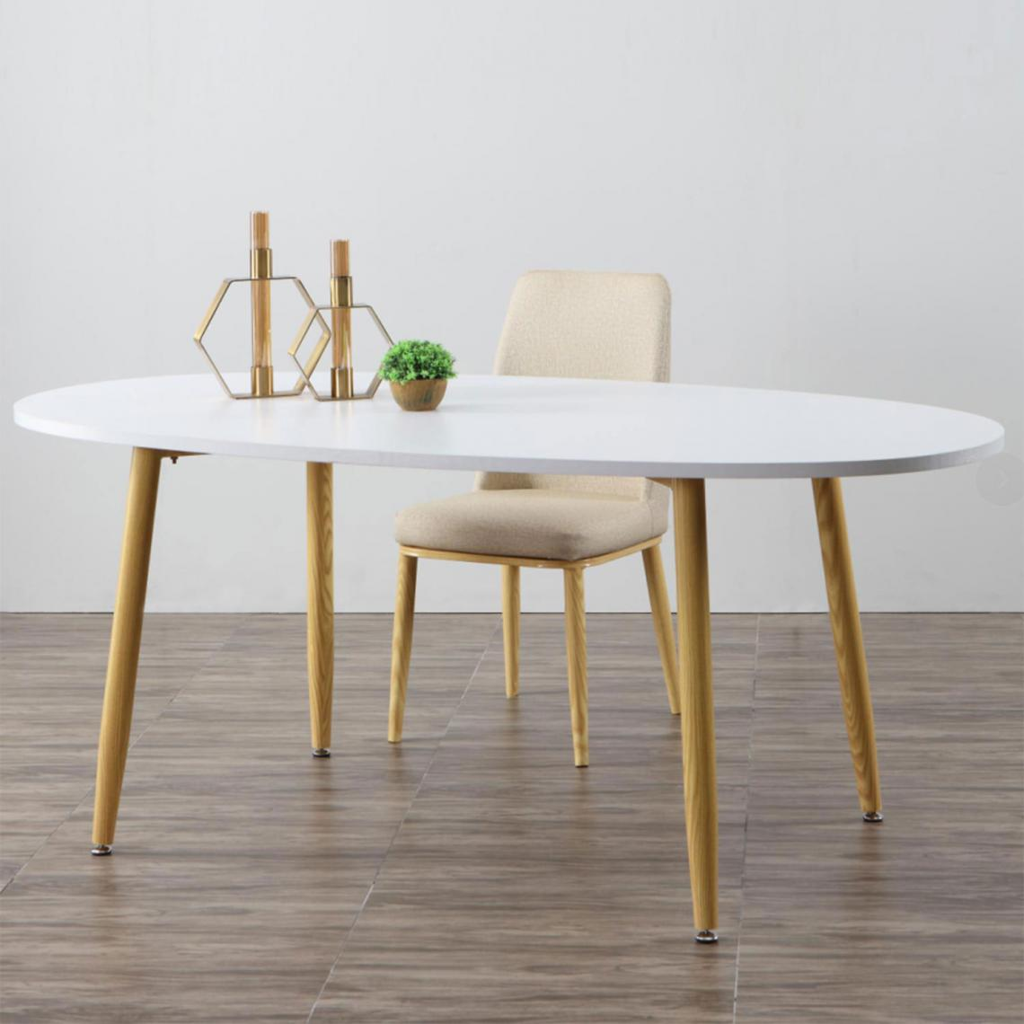 Table Scandinave Ovale Beige et Blanche NOELLE   3 SUISSES