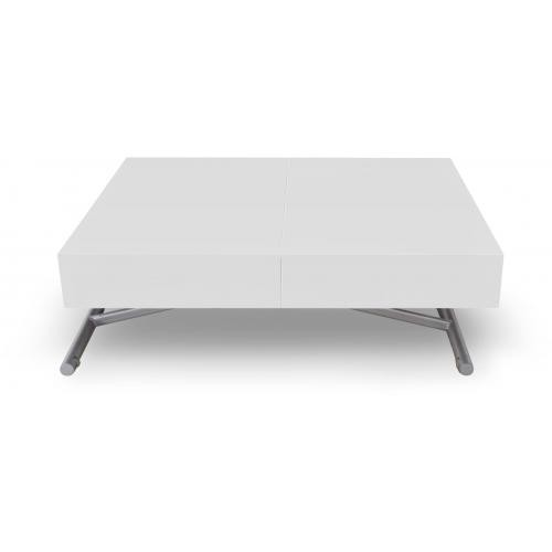3S. x Home - Table Basse Relevable Blanc Laqué CASSY - Table basse