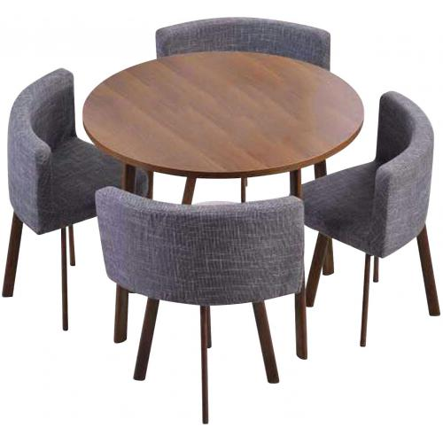 3S. x Home - Table Ronde Marron et Chaises en Tissu Gris ROISSY - Table