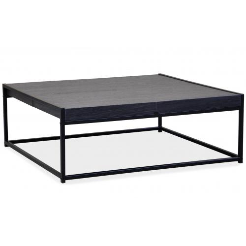 3S. x Home - Table Basse Grise avec 4 Rangements Structure en Fer Noir CARO - Table basse