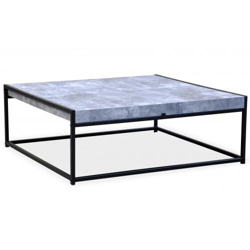 3S. x Home - Table Basse Bleue avec 4 Rangements Structure en Fer Noir CARO - Table basse