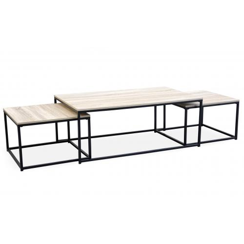 3S. x Home - Table Basse Beige et 2 Tables Gigognes Structure en Fer Noir CARO - Table basse