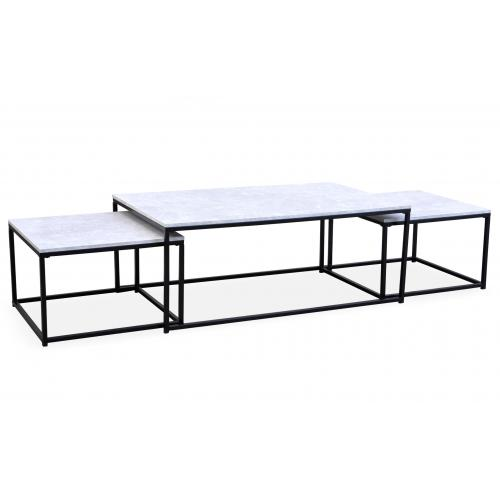3S. x Home - Table Basse Effet Marbre et 2 Tables Gigognes Structure en Fer Noir CARO - Table basse