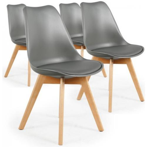 3S. x Home - Lot De 4 Chaises Scandinaves Grises ESBEN - Chaise, tabouret, banc