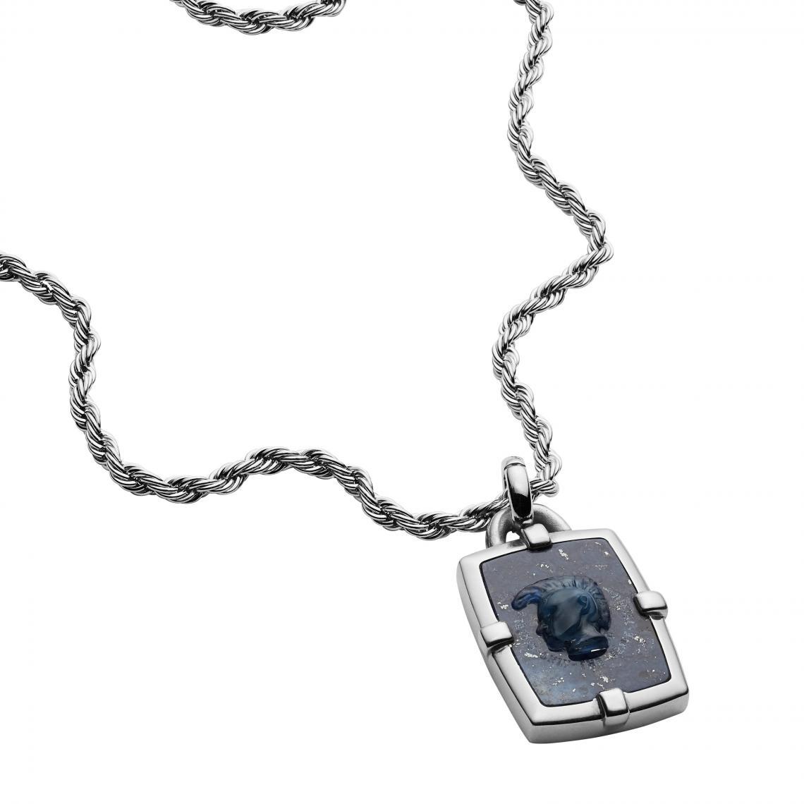 Collier et pendentif Diesel DX1191040 - MOHICAN Acier é Sodalite - Diesel Bijoux - Modalova